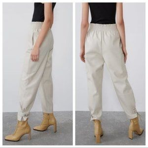 Zara Faux Leather Slouchy Pants Size XS